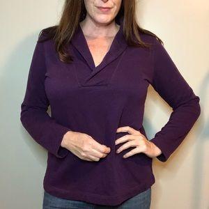 🦋 Eggplant shawl collar cozy sweatshirt